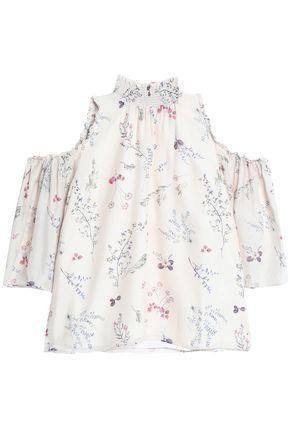 Rachel Zoe Woman Cold-shoulder Floral-print Silk Crepe De Chine Blouse Ivory