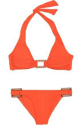 Melissa Odabash Woman Embellished Triangle Bikini Orange