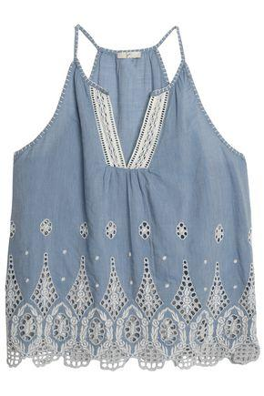 Joie Woman Broderie Anglaise Cotton-chambray Top Light Denim