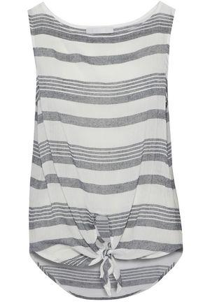 Kain Woman Knotted Striped Cotton-gauze Top Dark Gray
