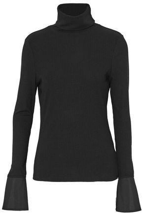 W118 By Walter Baker Woman Poplin-paneled Ribbed-knit Turtleneck Top Black