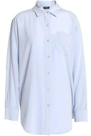 Dkny Silk-blend Shirt In Light Blue