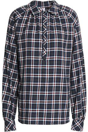 Stella Jean Woman Checked Cotton-flannel Shirt Navy