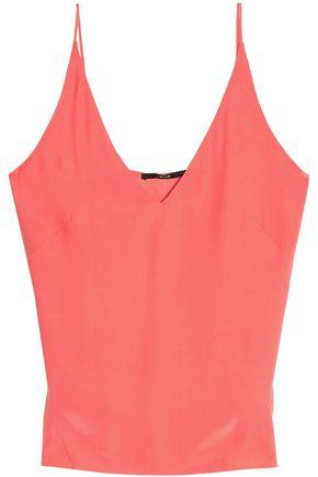 J Brand Woman Lucy Silk Crepe De Chine Camisole Coral