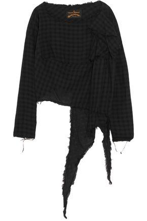 Vivienne Westwood Anglomania Woman Draped Checked Cotton Top Black
