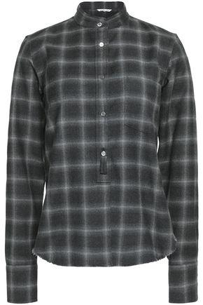 Helmut Lang Woman Checked Wool And Cashmere-blend Shirt Dark Gray