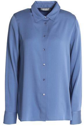Vince Woman Stretch-silk Top Blue