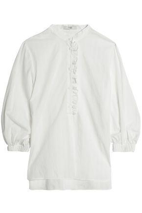 Tibi Woman Ruffle-trimmed Pinstriped Cotton-poplin Blouse White