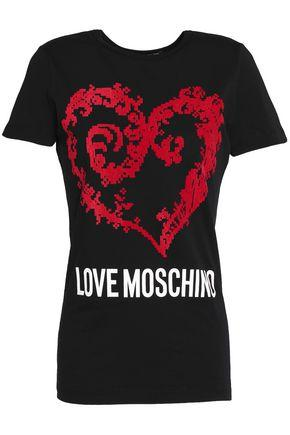 Love Moschino Woman Printed Cotton-jersey T-shirt Black