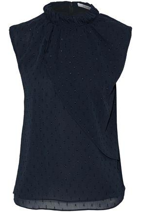 Derek Lam 10 Crosby Woman Layered Fil CoupÉ Georgette Top Midnight Blue