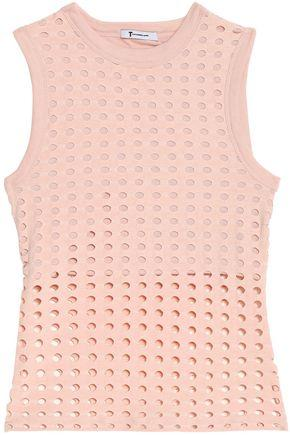 T By Alexander Wang Woman Laser-cut Stretch-jersey Top Antique Rose