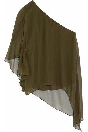 Haute Hippie Woman One-shoulder Draped Silk-georgette Blouse Army Green