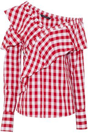 W118 By Walter Baker Woman Anabela One-shoulder Ruffled Striped Cotton Blouse Red