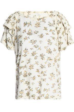 Current Elliott Woman Floral-print Slub Linen And Cotton-blend Jersey T-shirt Ivory