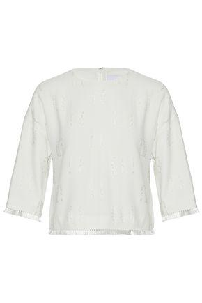 Derek Lam 10 Crosby Fringe-trimmed Fil CoupÉ Crepe Top In Off-white