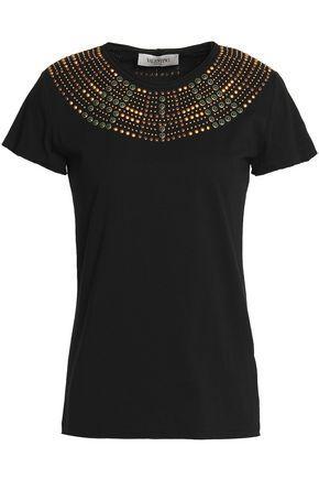 Valentino Woman Studded Cotton-jersey Top Black