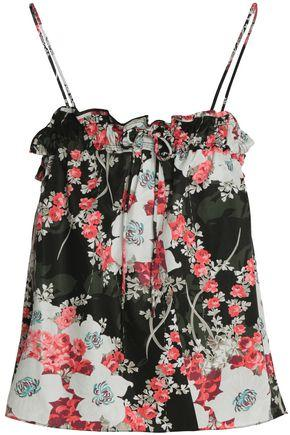 Rag & Bone Woman Floral-print Twill Top Black
