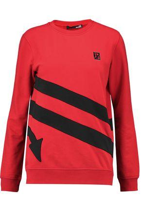 Love Moschino Woman AppliquÉd Cotton-blend Sweatshirt Red