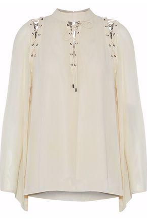 Haute Hippie Woman Lace-up Silk Top Beige