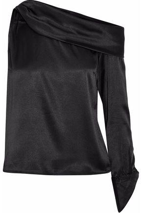 W118 By Walter Baker Woman One-shoulder Draped Satin Top Black