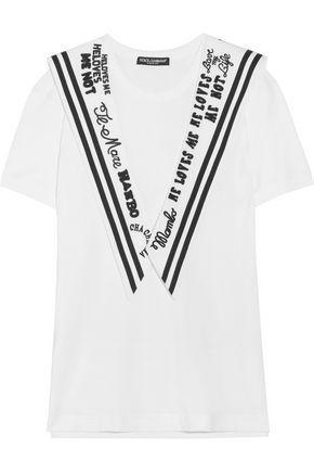 Dolce & Gabbana Woman Embroidered Twill-paneled Cotton-jersey T-shirt White