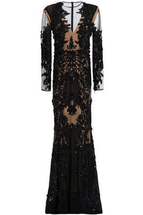 Zuhair Murad Woman Embellished Organza Gown Black