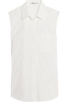 T By Alexander Wang Woman Split-back Stretch-cotton Poplin Shirt White