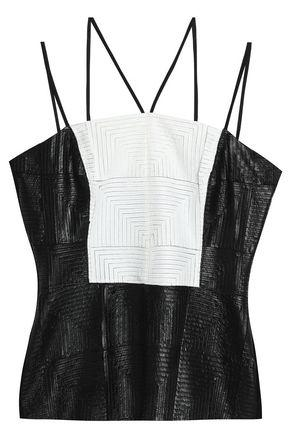 Bailey44 Faux Leather And Jersey Top In White