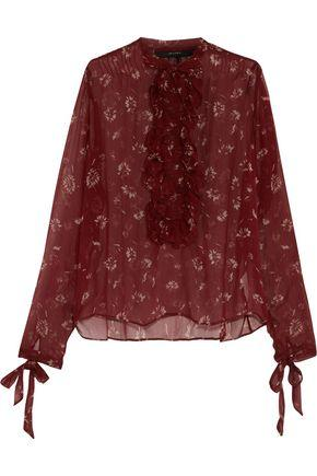 Etro Woman Ruffle-trimmed Floral-print Silk-georgette Top Red