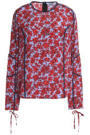 Msgm Woman Floral-print Silk Crepe De Chine Top Red