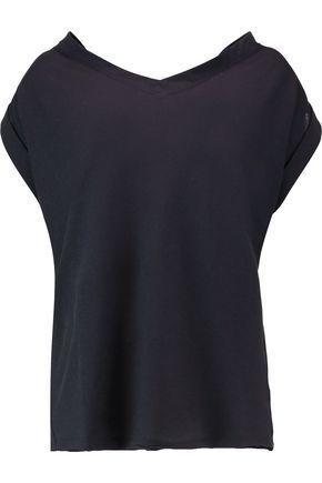 Marni Woman Cutout Draped Cotton-twill Top Midnight Blue