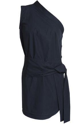 Stella Mccartney Woman One-shoulder Belted Cotton-poplin Navy