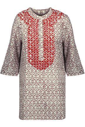 Figue Woman Jasmine Bead-embellished Printed Cotton-gauze Tunic Off-white