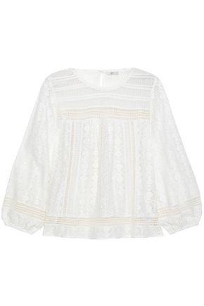 Joie Woman Flared Cotton-blend Lace Blouse White