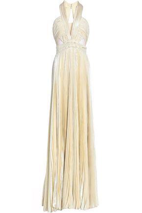 Zuhair Murad Pleated Metallic Silk-blend Gown In Pastel Yellow