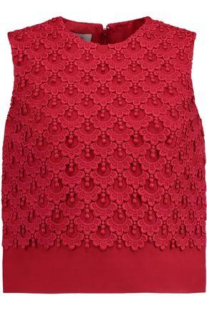 Valentino Embroidered Crepe Top In Red