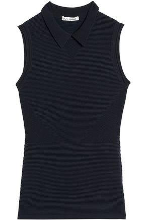 Autumn Cashmere Perforated Ribbed-knit Top In Midnight Blue