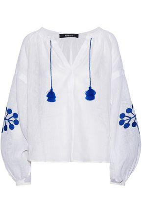 March11 Woman Tasseled Embroidered Linen-gauze Top White