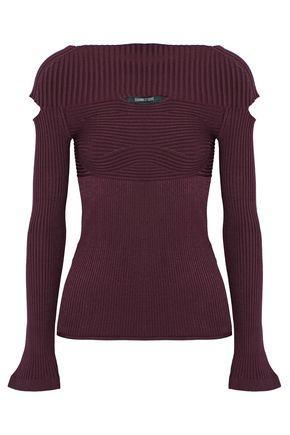 Cushnie Et Ochs Cushnie Woman Cutout Ribbed-knit Top Burgundy