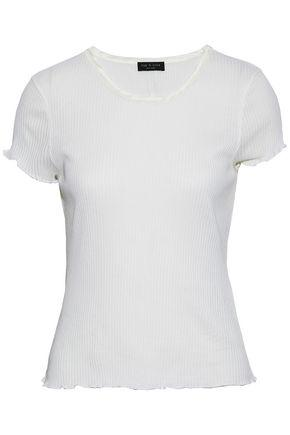 Rag & Bone Woman Satin-trimmed Ribbed-knit Cotton Top White