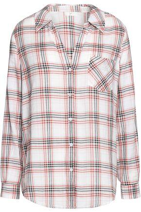Joie Woman Checked Cotton Top White