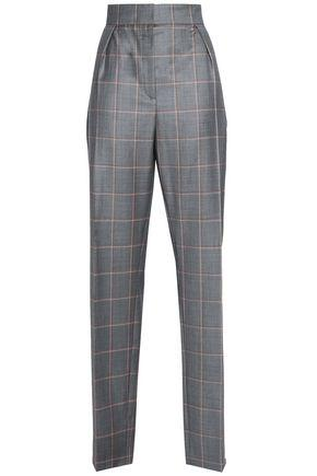 Lanvin Woman Checked Wool Tapered Pants Gray