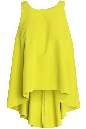 Milly Woman Draped Crepe Top Lime Green