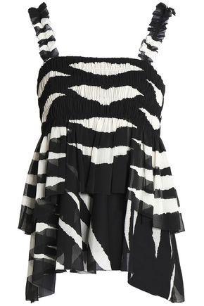 Tory Burch Woman Tiered Shirred Zebra-print Crepon Top Black