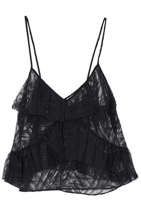 Michelle Mason Woman Ruffled Lace And Tulle Top Black