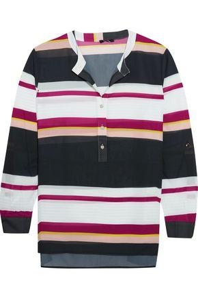 Raoul Woman Holiday Striped Georgette Blouse Black