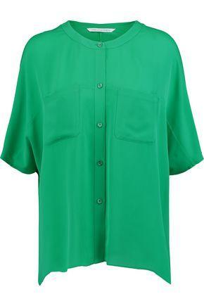 Diane Von Furstenberg Silk Crepe De Chine Blouse In Green