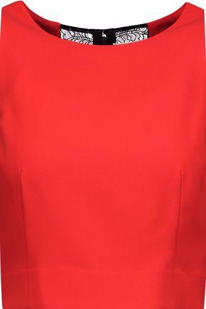 Alice And Olivia Woman Ren Lace-paneled Crepe Top Tomato Red