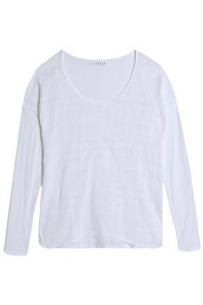Velvet By Graham & Spencer Woman Slub Cotton-gauze And Jersey Top White