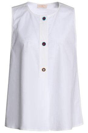 Tory Burch Woman Button-detailed Stretch Cotton-poplin Top White